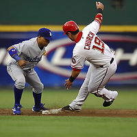 30 May 2007:   Washington Nationals center fielder Ryan Church (19) is thrown out attempting to steal second base in the 2nd inning as the tag is applied by Los Angeles Dodgers shortstop Rafael Furcal (15).  The Dodgers defeated the Nationals 5-0 at RFK Stadium in Washington, D.C.  ****For Editorial Use Only****