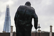 Winston Churchill monument silhouette in Parliament Square is seen as it looks towards Westminster Bridge in central London on Saturday, Mar 13, 2021. Coronavirus has hit the UK hard, with the country recording more than 3m cases and 125,000 deaths linked to the disease. (VXP Photo/ Vudi Xhymshiti)