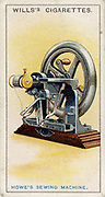 First lockstitch sewing machine, patented by Elias Howe (1819-1867), American inventor in 1845. From card published 1915. Chromolithograph