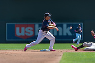 Brian Dozier #2 of the Minnesota Twins turns a double play against the Baltimore Orioles on May 12, 2013 at Target Field in Minneapolis, Minnesota.  The Orioles defeated the Twins 6 to 0.  Photo: Ben Krause