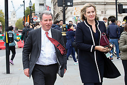 © Licensed to London News Pictures. 03/10/2019. London, UK. MP for West Dorset Sir Oliver Letwin (l) and MP for Hastings and Rye Amber Rudd (r) arrive at Parliament .  Photo credit: George Cracknell Wright/LNP