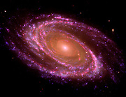 The spiral galaxy known as Messier 81, or M81. GALEX Orbiter,Hubble Space Telescope,Spitzer Space Telescope.