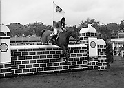 Shell Sponsored Events At The Dublin Horse Show.(R39).1986..07.08.1986..08.07.1986..7th August 1986..At the Horse Show Shell sponsored both the Speed and Power competition and The Puissance..The Speed and Power event was won by Hap Hanson riding 'Gambrinus'. The Puissance was shared by Capt John Ledingham (Irl) on 'Kilcoltrim' and Nick Skelton (GB) on 'Raffles Apollo' who both cleared the high wall at 7feet...Image shows Peter Charles (GB)) on 'Merrimandias' taking part in the Shell Puissance event