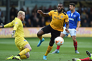 Lenell John-Lewis of Newport county © is denied by Portsmouth goalkeeper Aaron McCarey . Skybet football league two match, Newport county v Portsmouth at Rodney Parade in Newport, South Wales  on Saturday 17th October 2015.<br /> pic by  Andrew Orchard, Andrew Orchard sports photography.