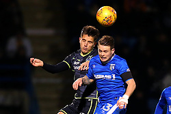 Tom Nichols of Bristol Rovers challenges Mark Byrne of Gillingham to a header - Mandatory by-line: Robbie Stephenson/JMP - 16/12/2017 - FOOTBALL - MEMS Priestfield Stadium - Gillingham, England - Gillingham v Bristol Rovers - Sky Bet League One