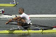 2002 FISA World Cup. Hazewinkel. BEL.       Friday  14/06/2002     .email images@Intersport-images.com.[Mandatory Credit: Peter Spurrier/Intersport Images]  .                                 /06/2002.Rowing. .EGY M1X Mohamed Abdel Ahmed Rowing, FISA WC.Hazenwinkel, BEL