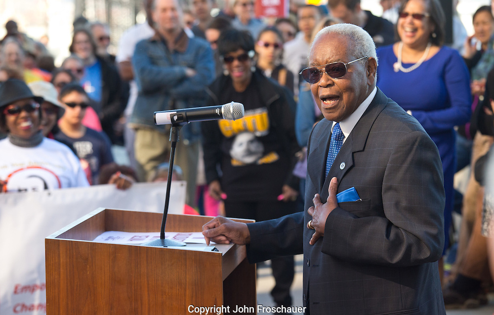 """Harold Moss speaks after marching across the 11th St. bridge in Tacoma in honor of the 50th anniversary of the """"Bloody Sunday"""" march in Selma Alabama, on Sunday, March 8, 2015. (Photo/John Froschauer)"""