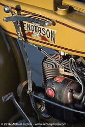 Jeff Tiernan's 1929 Henderson KJ at the hosted dinner stop at Hells Canyon Harley-Davidson in Lewiston, Idaho after Stage 14 - (284 miles) of the Motorcycle Cannonball Cross-Country Endurance Run, which on this day ran from Meridian to Lewiston, Idaho, USA. Friday, September 19, 2014.  Photography ©2014 Michael Lichter.