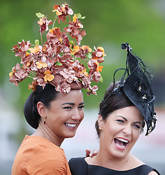 Eimear Cassidy and Suzanne Ryan during day three of the Punchestown Festival at Punchestown Racecourse, County Kildare, Ireland.