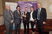 31/01/2014 REPRO free.<br /> From Left CforC Chief Executive Bob Barbour, Matt Fisher, EFQM, Garrett O'Neill, and Magda Rybka  Crowne Plaza Blanchardstown, and  Dr Tony Lenehan, Fáilte Ireland.<br /> The EFQM(European Business Excellence based Awards in Ireland) 5 Star Award went to among others Crowne Plaza Blanchardstown, represented by Magda Rybka and Garrett O'Neill from the Hotel in a prestigious recognition scheme awards ceremony  at the Galway Bay Hotel . Established by the private sector, the Centre for Competitiveness (CforC) is an independent, not-for-profit membership organisation operating on the Island of Ireland with offices in Belfast and Dublin. The Centre is the national partner for the European Foundation for Quality Management, Brussels (EFQM) in Ireland and the certification partner for the UK and Ireland (ADS) aerospace, defence and security supply base. It is an active member of the Global Federation of Competitive Councils, Washington USA. The Centre is dedicated to improving the quality and competitiveness of individual organisations in the private, public and voluntary sectors and to build best in class performance through International Leadership and Innovation, Productivity Improvement, and Quality Excellence in all sectors.Photo:Andrew Downes