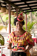 Callixta Emmanuel serves at the Trou au Diable restaurant at the Anse Chastanet Resort, St. Lucia