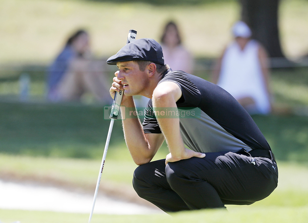 May 26, 2018 - Fort Worth, TX, USA - Bryson DeChambeau lines up his first put of the day during the Fort Worth Invitational Golf Tournament at Colonial Country Club Saturday May 26, 2018 in Fort Worth, Texas. (Credit Image: © Bob Booth/TNS via ZUMA Wire)