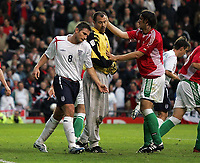 Photo: Paul Thomas.<br /> England v Hungary. International Friendly. 30/05/2006.<br /> <br /> Frank Lampard (L) of England is dejected after missing a penalty spot kick while the Hungary goal keeper Gabor Kiraly  (C) gets congratulated by Laszlo Eger.