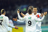 FOOTBALL - FRENCH CUP 2011/2012 - 1/16 FINAL - SABLE FC v PARIS SAINT GERMAIN - 20/01/2012 - PHOTO PASCAL ALLEE / DPPI - JOY KEVIN GAMEIRO AFTER HIS SECOND GOAL. HE IS CONGRATULATED BY NENE