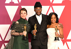 "Olivia Colman, winner of the Best Actress In A Leading Role Award for ""The Favourite""; Mahershala Ali, winner of the Best Actor In A Supporting Role Award for ""Green Book"" and Regina King, winner of the Best Actress In A Supporting Role Award for ""If Beale Street Could Talk"" at the 91st Annual Academy Awards"