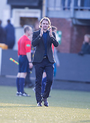 Hearts Head Coach Robbie Neilson at the end.<br /> Alloa Athletic 0 v 1 Hearts, Scottish Championship played at Recreation Park, Alloa.