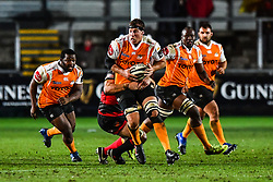 Cheetahs' Reniel Hugo in action during todays match<br /> <br /> Photographer Craig Thomas/Replay Images<br /> <br /> Guinness PRO14 Round 18 - Dragons v Cheetahs - Friday 23rd March 2018 - Rodney Parade - Newport<br /> <br /> World Copyright © Replay Images . All rights reserved. info@replayimages.co.uk - http://replayimages.co.uk