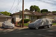 Covered cars, in San Carlos an affluent suburb of San Francisco, California