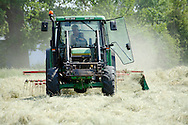 Tractor with rake attached to the rear rowing hay in a summer field ready for baling