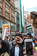 London, United Kingdom, May 22, 2021: A passionate protestor shouts pro-Palestinian slogans during rally outside the Israeli Embassy in Kensington, central London on Saturday, May 22, 2021. Egyptian mediators held talks Saturday to firm up an Israel-Hamas cease-fire as Palestinians in the Hamas-ruled Gaza Strip began to assess the damage from 11 days of intense Israeli bombardment. (Photo by Vudi Xhymshiti/VXP)