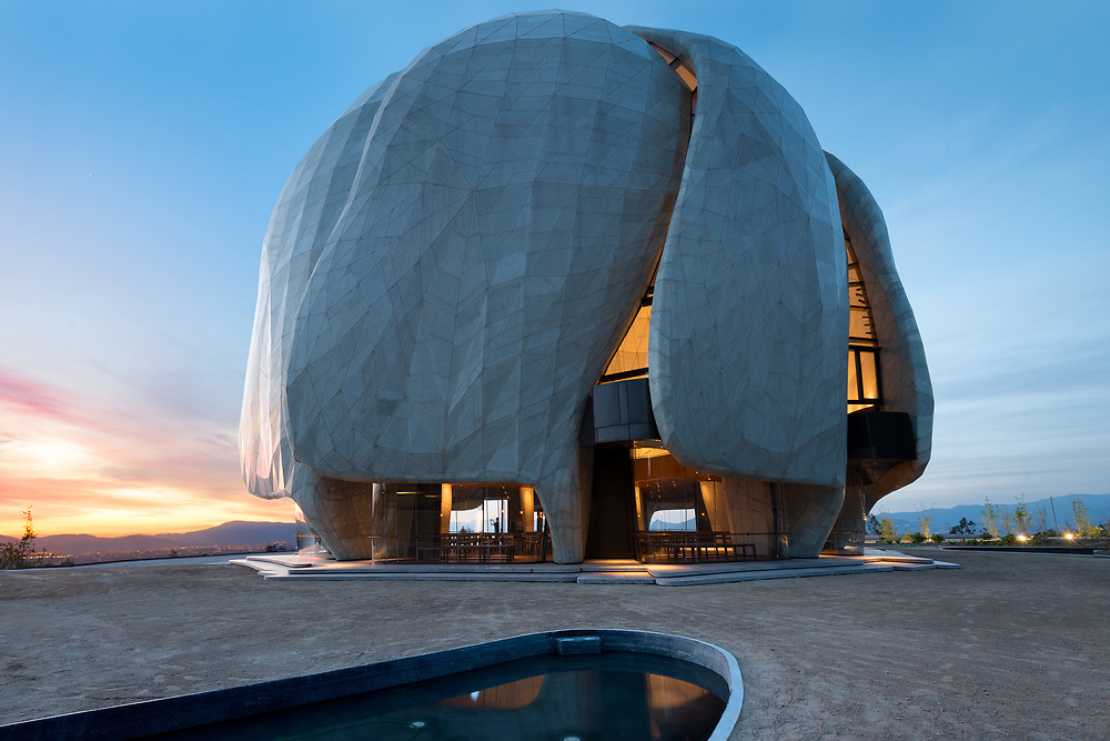 Santiago, Region Metropolitana, Chile - The eight Bahá'í temple in the world and first in South America, located at the foot of the Andes mountain Range.