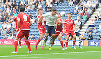 Preston North End's Bailey Wright has a headed shot on goal<br /> <br /> Photographer Dave Howarth/CameraSport<br /> <br /> Football - The Football League Sky Bet Championship - Preston North End v Middlesbrough -  Sunday 9th August 2015 - Deepdale - Preston<br /> <br /> © CameraSport - 43 Linden Ave. Countesthorpe. Leicester. England. LE8 5PG - Tel: +44 (0) 116 277 4147 - admin@camerasport.com - www.camerasport.com
