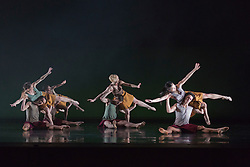"© Licensed to London News Pictures. 18/11/2014. London, England. Terra Incognita choreographed by Shobana Jeyasingh. British dance company ""Rambert"" perform their new show ""Triptych"" at Sadler's Wells Theatre from 18 to 22 November 2014. Choreographed by Shobana Jeyasingh with Luke Ahmet, Lucy Balfour, Adam Blyde, Carolyn Bolton, Simone Damberg Würtz, Dane Hurt, Vanessa King, Adam Park, Hannah Rudd and Pierre Tappon dancing. Photo credit: Bettina Strenske/LNP"