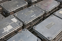 Equipment cases from glaciology field research program in Kluane National Park, Yukon