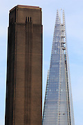 Old and new towers of London - the Tate Modern on the left and the Shard behind.