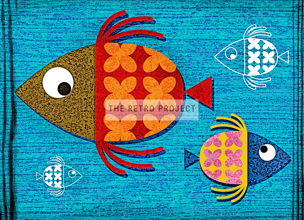 Dinner Time - Retro Mid Century Fish Aquatic Illustration Marine freshwater on blue textured and aged background