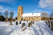 Heavy snow February 2020 village of Shottisham, Suffolk, England, UK - parish church of Saint Margaret