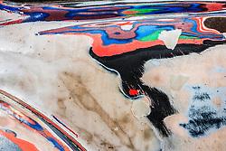 Abstract of paint layers, Volkswagen Beetle, Lake Atitlán, Santiago Atitlán Guatemala