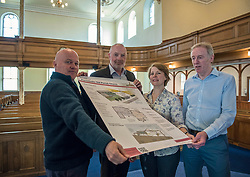Environment Secretary, Roseanna Cunningham MSP, was in Portobello today to meet the Action Porty community right-to-buy group to mark the Scottish Government giving consent to proceed with the first community right to buy in an urban area. Pictured: Action Porty committee members Justin Kenrick, Ewan Regan (Action Porty legal advisor), Kyrsta Macdonald-Scott, Ian Cooke<br /> <br /> <br /> © Jon Davey/ EEm