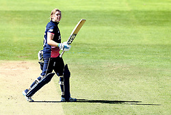 Heather Knight of England Women lifts her bat as she walks of pitch after hitting 82 - Mandatory by-line: Robbie Stephenson/JMP - 02/07/2017 - CRICKET - County Ground - Taunton, United Kingdom - England Women v Sri Lanka Women - ICC Women's World Cup Group Stage