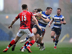 Sam Burgess of Bath Rugby takes on the London Welsh defence - Photo mandatory by-line: Patrick Khachfe/JMP - Mobile: 07966 386802 29/03/2015 - SPORT - RUGBY UNION - Oxford - Kassam Stadium - London Welsh v Bath Rugby - Aviva Premiership