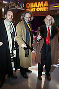"""l to r: Thomas Kenny, Patrick Morell, and Arnnold Waster at """" The Obama That One: A Pre-Inagural Gala Celebrating the Victory of President-Elect Obama celebration held at The Newseum in Washington, DC on January 18, 2009  .."""