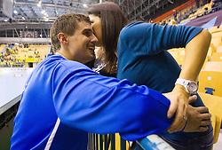 Matevz Skok of Celje with his wife after the handball match between RK Celje Pivovarna Lasko and IK Savehof (SWE) in 3rd Round of Group B of EHF Champions League 2012/13 on October 13, 2012 in Arena Zlatorog, Celje, Slovenia. (Photo By Vid Ponikvar / Sportida)