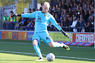 Oxford United goalkeeper Jonathan Mitchell (41) clearing ball during the EFL Sky Bet League 1 match between AFC Wimbledon and Oxford United at the Cherry Red Records Stadium, Kingston, England on 29 September 2018.