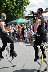 Street entertainment as part of the Mayor's Festival celebration, Norwich UK July 2017