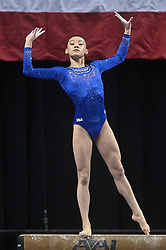 March 2, 2019 - Greensboro, North Carolina, US - LEANNE WONG competes on the balance beam at the Greensboro Coliseum in Greensboro, North Carolina. (Credit Image: © Amy Sanderson/ZUMA Wire)