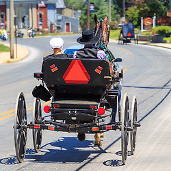 Intercourse, PA - June 12, 2016: Old Order Amish use a horse drawn open buggy as their primary transportation in rural Lancaster County, Pennsylvania.