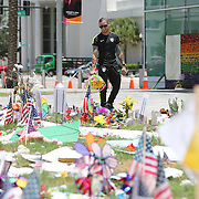 Olympian and professional boxer Orlando Cruz of Puerto Rico pays his respects to the victims of the Pulse Nightclub shooting at the Dr. Phillips Center for the Perfotming Arts on Tuesday, July 12, 2016 in Orlando, Florida. Cruz, who lost four friends in the tragic incident was the first openly gay boxer in the sport and will fight for his fifth time in the Orlando area this Friday.  (Alex Menendez via AP)