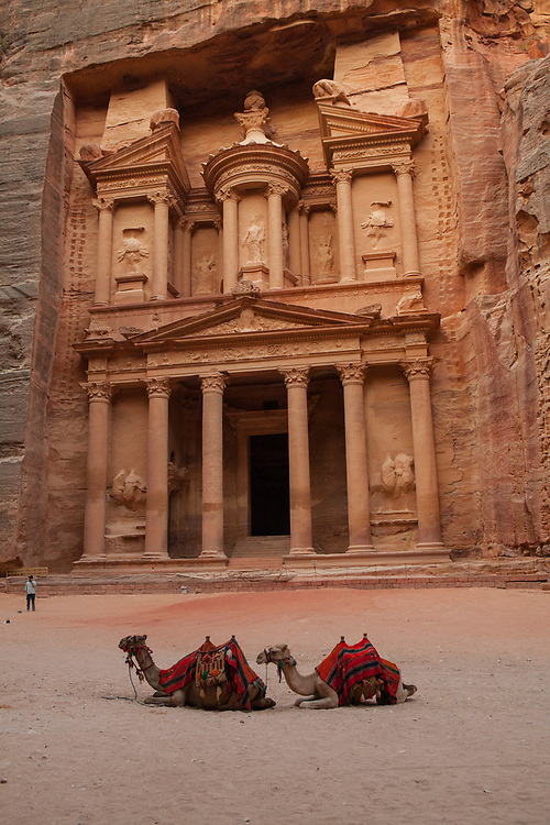 """Low angle view of the Treasury, a facade carved out of stone by the Nabataeans. Currently one of the """"Seven Wonders of the World"""" Camels in the foreground."""
