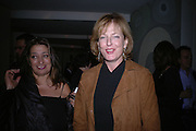 Zahar Hadid and Julia Peyton-Jones. Cartier Dinner hosted by Arnaud Bamberger, Matthew Slotover and Amanda Sharp to celebrate the artist featured in Frieze projects 2005. Nobu Berkeley St..  London. 21 October 2005. ONE TIME USE ONLY - DO NOT ARCHIVE © Copyright Photograph by Dafydd Jones 66 Stockwell Park Rd. London SW9 0DA Tel 020 7733 0108 www.dafjones.com