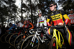 February 10, 2018 - Lille, BELGIUM - Belgian Eli Iserbyt and Belgian Thijs Aerts pictured at the start of the U23 race of the Krawatencross cyclocross in Lille, the eighth and last stage in the DVV Verzekeringen Trofee Cyclocross competition, Saturday 10 February 2018. BELGA PHOTO DAVID STOCKMAN (Credit Image: © David Stockman/Belga via ZUMA Press)