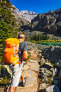 Hiker on the Lake Oesa Trail, Yoho National Park, British Columbia, Canada