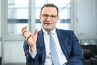 05 MAY 2021, BERLIN/GERMANY:<br /> Jens Spahn, CDU, Bundesgesundheitsminister, wahrend einem Interview, in seinem Buero, Bundesministerium fur Gesundheit<br /> IMAGE: 202105005-01-023