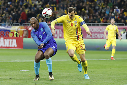 (l-r) Ryan Babel of Holland, Vlad Chiriches of Romania during the friendly match between Romania and The Netherlands on November 14, 2017 at Arena National in Bucharest, Romania
