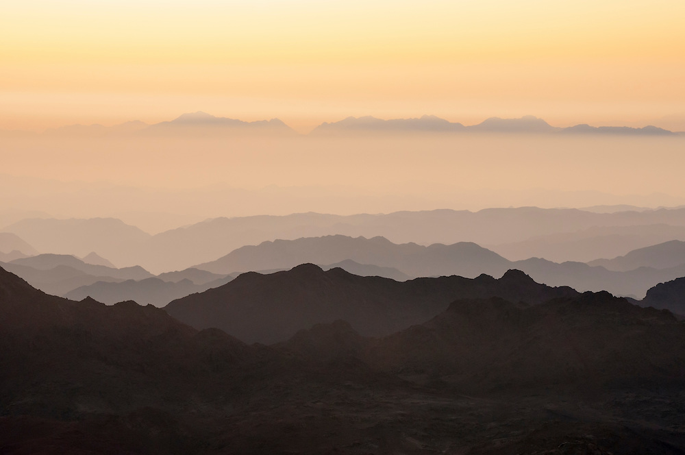 View at sunrise from atop Mount Sinai in Egypt<br /> (Mount Sinai, Egypt - May 2010)