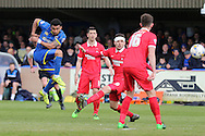 Andy Barcham midfielder for AFC Wimbledon (17) shots on goal during the Sky Bet League 2 match between AFC Wimbledon and Leyton Orient at the Cherry Red Records Stadium, Kingston, England on 23 April 2016. Photo by Stuart Butcher.